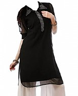 Black/white Chiffon Suit- Pakistani Casual Clothes