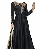Black Raw Silk Suit- Indian Semi Party Dress