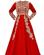 Coral Raw Silk Suit- Indian Semi Party Dress
