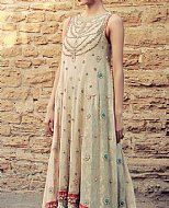 Light Golden Jamawar Chiffon Suit- Pakistani Party Wear Dress