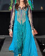 Turquoise Chiffon Jamawar Suit- Pakistani Formal Designer Dress