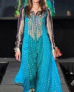 Turquoise Chiffon Jamawar Suit