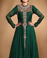 Bottle Green Crinkle Chiffon Suit- Pakistani Party Wear Dress