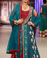 Teal Blue/Red Crinkle Chiffon Suit- Pakistani Party Wear Dress