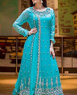 Turquoise Crinkle Chiffon Suit- Indian Designer clothes