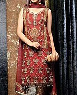Red Crinkle Chiffon Suit- Designer dress