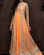 Peach Crinkle Chiffon Suit- Indian Designer clothes