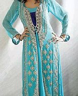 Turquoise Crinkle Chiffon Suit- Designer dress