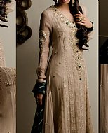 Beige Crinkle Chiffon Suit- Pakistani designer dress