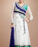 White/Blue Crinkle Chiffon Suit- Pakistani Party Wear Dress