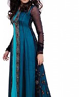 Blue/Turquoise Crinkle Chiffon Suit- Pakistani designer dress