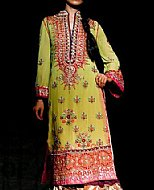 Apple Green Crinkle Chiffon Suit- Indian Designer clothes