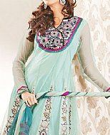 Light Turquoise Crinkle Chiffon Suit- Pakistani Party Wear Dress