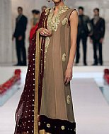 Brown Crinkle Chiffon Suit- Pakistani Party Wear Dress