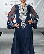 Navy Blue Crinkle Chiffon Suit- Pakistani designer clothing