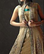 Sea Green/Beige Crinkle Chiffon Suit- Pakistani Party Wear Dress