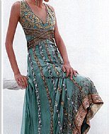 Sea Green Crinkle Chiffon Suit- Pakistani Formal Designer Dress