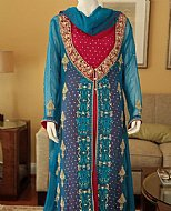 Turquoise/Red Crinkle Chiffon Suit- Pakistani designer dress