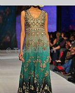 Sea Green/Black Crinkle Chiffon Suit- Pakistani Party Wear Dress