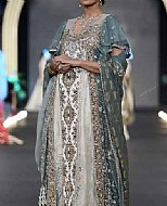 Grey/Off-white Crinkle Chiffon Suit- Pakistani Party Wear Dress