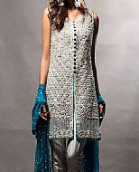 Silver Raw Silk Suit