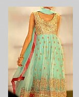 Light Sea Green Crinkle Chiffon Suit- Pakistani Formal Designer Dress