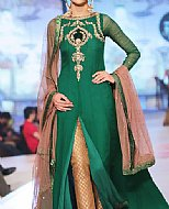 Teal Green Crinkle Chiffon Suit- Pakistani designer clothing