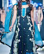Blue/Green Crinkle Chiffon Suit- Pakistani designer dress
