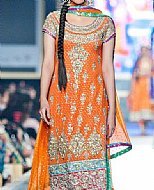 Orange Crinkle Chiffon Suit- Designer dress