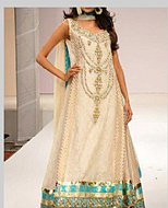 Off-white Crinkle Chiffon Suit- Pakistani Formal Designer Dress