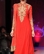 Red Crinkle Chiffon Suit- Pakistani designer clothing