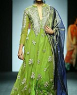 Parrot Green Chiffon Suit- Pakistani designer dress