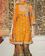 Mustard Crinkle Chiffon Suit- Indian Designer clothes