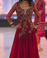 Maroon Crinkle Chiffon Suit.- Pakistani designer dress