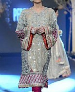 Beige Crinkle Chiffon Suit.- Pakistani designer dress