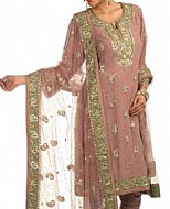 Tea Pink Chiffon Suit.- Pakistani Party Wear Dress