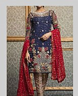 Navy Blue Crinkle Chiffon Suit- Pakistani designer dress