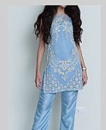 Sky Blue Crinkle Chiffon Suit- Pakistani designer dress