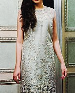 Light Grey Crinkle Chiffon Suit- Pakistani designer dress
