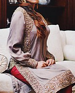 Grey/Red Crinkle Chiffon Suit- Pakistani designer clothing