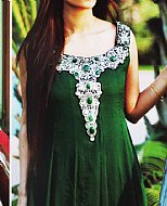 Bottle Green Crinkle Chiffon Suit- Pakistani Formal Designer Dress