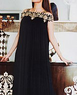 Black Crinkle Chiffon Suit- Designer dress