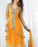 Yellow Crinkle Chiffon Suit- Pakistani Formal Designer Dress