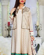 Cream Crinkle Chiffon Suit- Pakistani Party Wear Dress