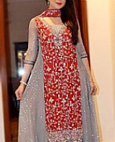 Red/Grey Crinkle Chiffon Suit- Pakistani Party Wear Dress