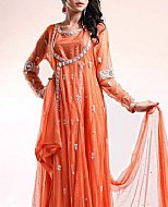 Orange Crinkle Chiffon Suit