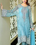 Turquoise Crinkle Chiffon Suit- Pakistani Formal Designer Dress