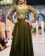 Dark Green Crinkle Chiffon Suit- Pakistani Party Wear Dress