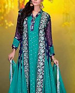 Turquoise/Blue Crinkle Chiffon Suit- Pakistani Party Wear Dress