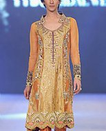 Rust/Gold Crinkle Chiffon Suit- Pakistani Formal Designer Dress